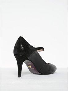 Pantofi negri din piele cu baretă Tamaris