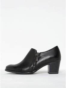 Pantofi negri din piele cu fermoar Tamaris