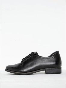 Pantofi negri din piele cu detalii decorative Tamaris