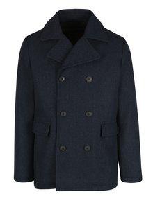Tmavě modrý krátký vzorovaný kabát s příměsí vlny Selected Homme Merce