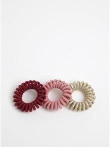 Súprava troch špirálových gumičiek vo vínovej a zlatej farbe Pieces Renne