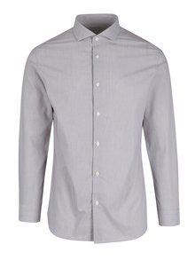 Vínovo-bílá pruhovaná formální slim fit košile Selected Homme Donesel