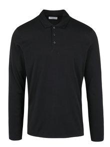 Černé polo tričko s dlouhým rukávem Selected Homme Blake