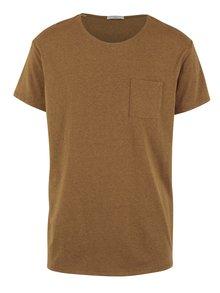 Světle hnědé žíhané tričko s náprsní kapsou Selected Homme Flame