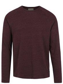 Vínové žíhané tričko s dlouhým rukávem Selected Homme Frey