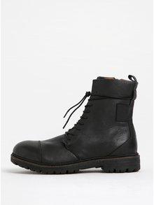 Černé kožené kotníkové boty Selected Homme Mill