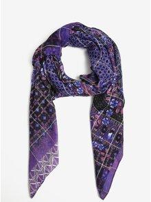 Fialový vzorovaný šátek Desigual Rectangle Boho
