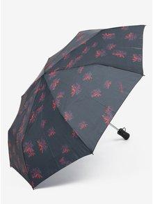 Černý vzorovaný skládací vystřelovací deštník Desigual Bloomstar 24