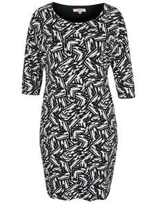 Bielo-čierne vzorované šaty s 3/4 rukávom LA Lemon