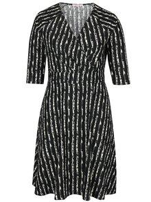 Čierne vzorované šaty s prekladaným dekoltom LA Lemon