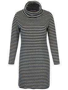 Tmavě šedé vzorované svetrové šaty s vysokým límcem LA Lemon