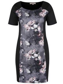 Sivo-čierne kvetované puzdrové šaty LA Lemon
