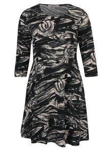 Krémovo-černé vzorované šaty s 3/4 rukávem LA Lemon