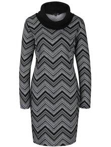 Čierne vzorované šaty s vysokým golierom Smashed Lemon
