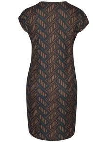 Tmavozelené puzdrové vzorované šaty s prekladaným dekoltom LA Lemon