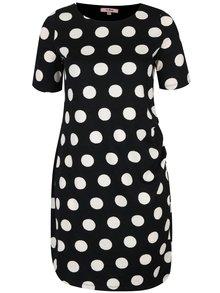 Čierne puzdrové bodkované šaty so zberkaním na boku LA Lemon
