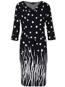 Čierne bodkované šaty s 3/4 rukávom Smashed Lemon