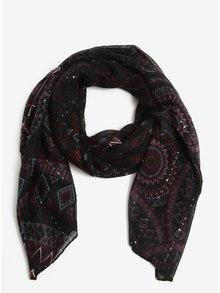 Černý vzorovaný šátek s lesklými flitry  Desigual Rectangle Noa