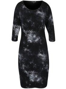 Čierne vzorované šaty s 3/4 rukávom Smashed Lemon