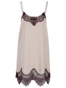 Vínovo-béžová noční košilka s krajkou Y.A.S Elle