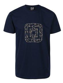 Tmavomodré pánske tričko s potlačou Horsefeathers Wireframe