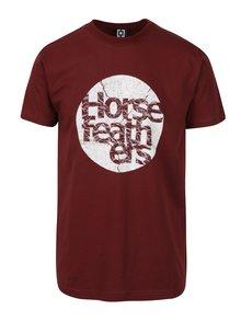Vínové pánske tričko s potlačou Horsefeathers Bout