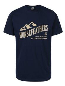 Tmavomodré pánske tričko s krátkym rukávom a potlačou Horsefeathers Ripple