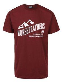 Vínové pánske tričko s krátkym rukávom a potlačou Horsefeathers Ripple