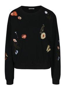 Bluză neagră cu broderie florală și mărgele Haily´s Funny