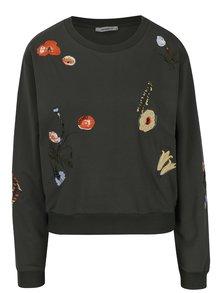 Bluză kaki cu broderie florală și mărgele Haily´s Funny