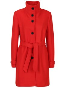 Palton roșu cu cordon din amestec de lână Smashed Lemon