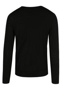 Pulover negru din lână cu decolteu encoeur Jack & Jones Premium Mark