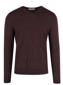 Vínový vlnený sveter s véčkovým výstrihom Jack & Jones Premium Mark
