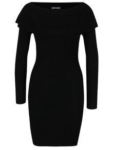 Čierne svetrové šaty s lodičkovým výstrihom Haily´s Leonie