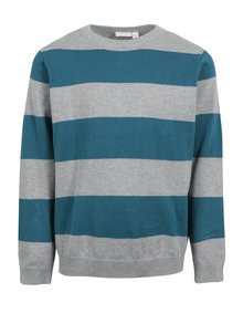 Sivo-zelený melírovaný chlapčenský pruhovaný sveter name it Valter