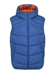 Modrá prešívaná vesta s kapucňou Jack & Jones Landing