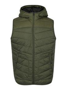 Tmavě zelená prošívaná vesta s kapucí Jack & Jones Moss