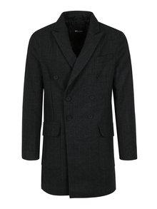 Tmavě šedý károvaný kabát ONLY & SONS Svend