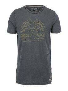 Modrošedé slim fit tričko s potiskem Jack & Jones Haden