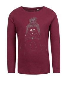 Vínové dievčenské tričko s potlačou name it Veen