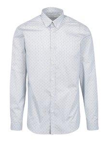 Modro-krémová vzorovaná slim fit košeľa Jack & Jones Miguel