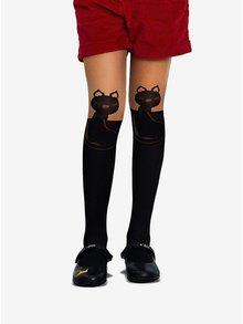 Černo-tělové holčičí punčocháče s motivem koček Penti Felice 30 DEN