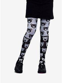 Černo-šedé holčičí punčocháče s motivem medvědů Penti Teddy 60 DEN