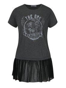 Tricou gri cu aplicație de plasă Haily´s Rosy