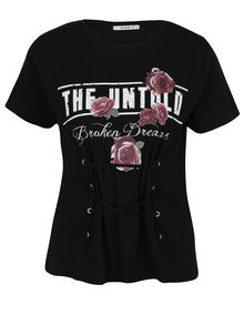 Tricou negru cu șnur inserat în talie  Haily´s Broken