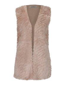 Ružová pletená vesta s umelým kožúškom Haily´s Tara