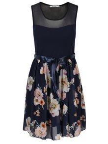 Tmavě modré květované šaty s páskem Haily´s Nell