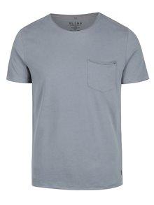 Šedomodré slim fit tričko s náprsní kapsou Blend