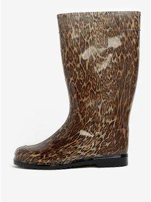 Hnědé dámské holínky s leopardím vzorem Oldcom Rain