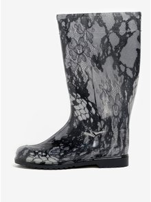 Čierno–sivé dámske vzorované gumáky Oldcom Rain